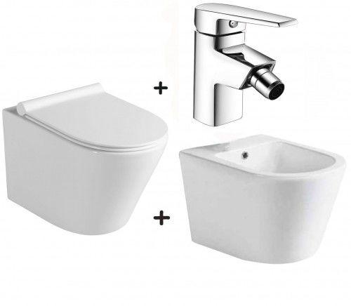 Zestaw PACO 4 w 1 miska WC z deską +bidet ceramika +bateria Areta