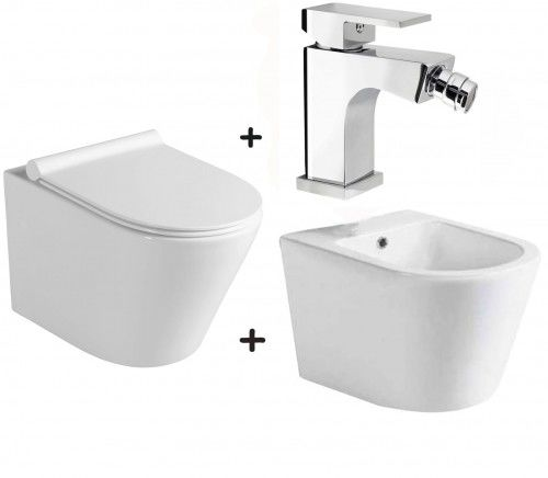 Zestaw PACO 4 w 1 miska WC z deską +bidet ceramika +bateria CANTINO
