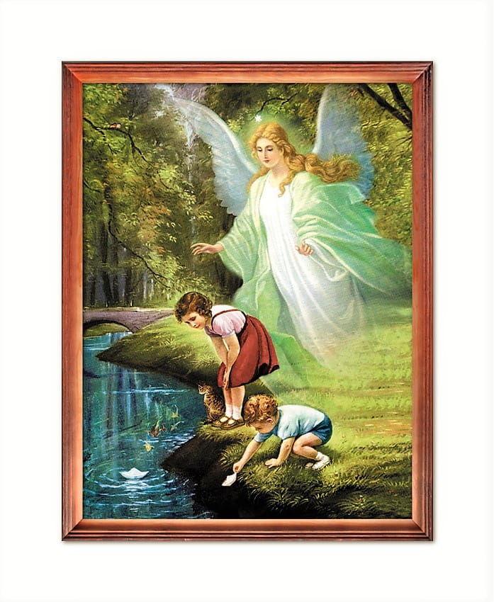 Obraz religijny Anioł Stróż z dziećmi