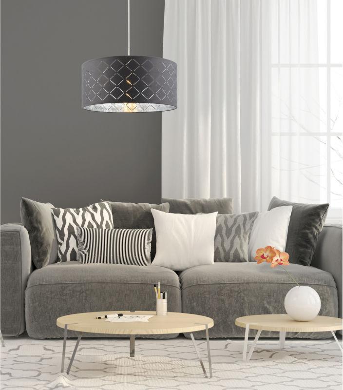 Globo KIDAL 15228H lampa wisząca szary srebrny metalik 1xE27 60W 40cm