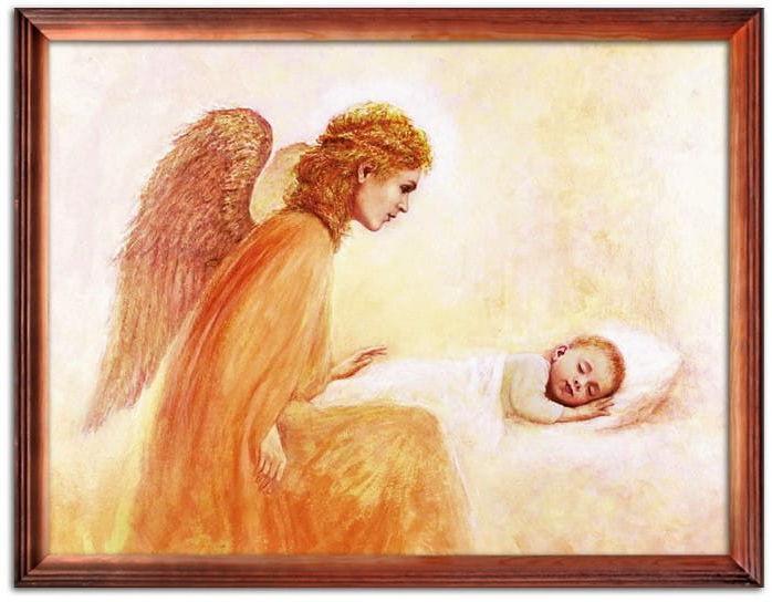 Obraz Anioła Stróża ze śpiącym dzieckiem