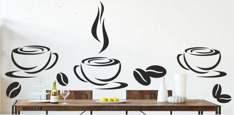 Naklejka trzy filiżanki i ziarna kawy