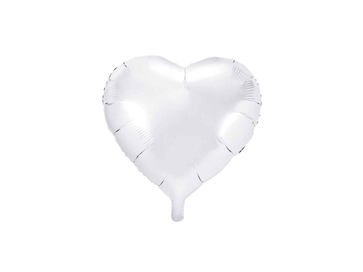 Balon foliowy Serce białe - 45 cm - 1 szt.