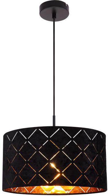 Globo SUNNA 15334H lampa wisząca czarna czarno-złoty 1xE27 60W 38cm