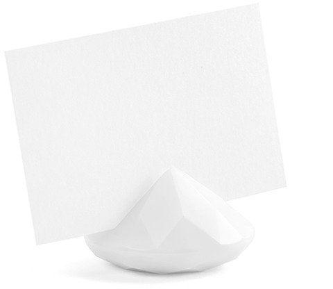 Stojaczki na winietki diament 4cm białe 10 szt SDW40-008
