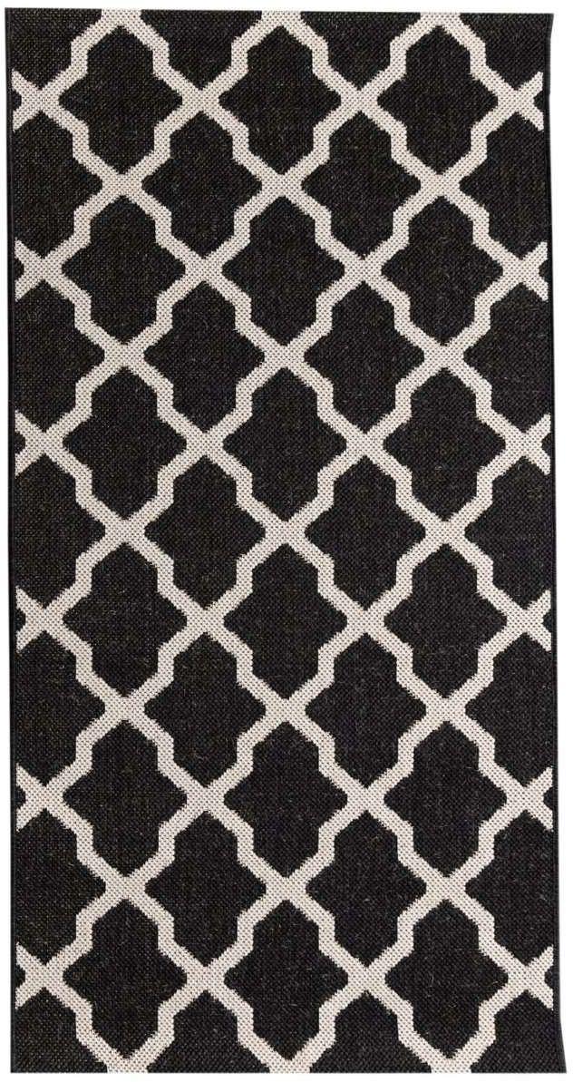 Dywan Cottage black/ wool 67x130cm, 67  130 cm
