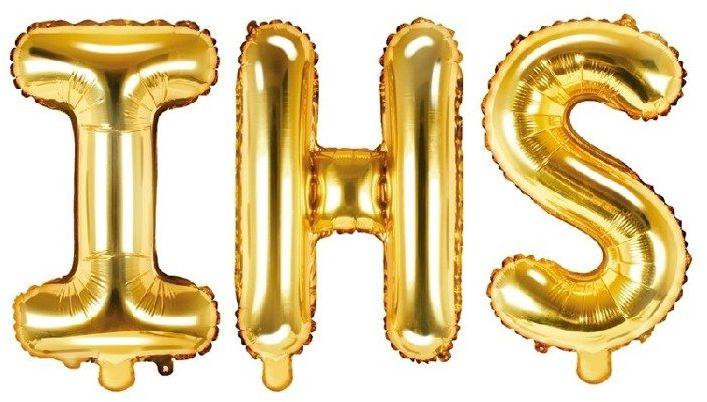 Balony na komunię IHS złote foliowe 35cm FB2M-IHS-019