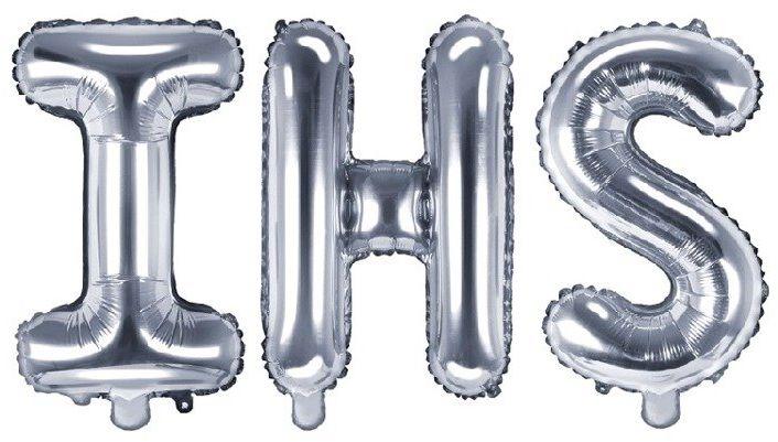 Balony na komunię IHS srebrne 35cm foliowe FB2M-IHS-018
