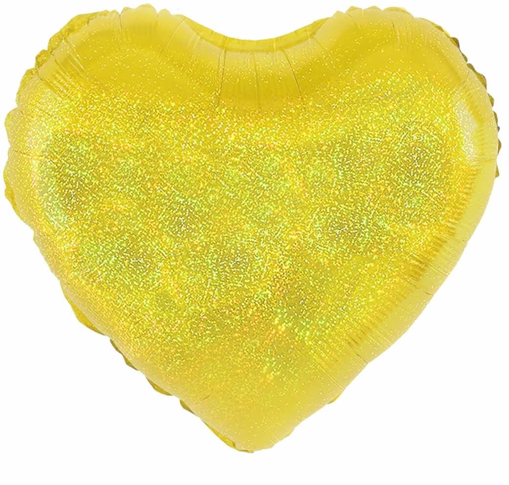 Balon foliowy Serce holograficzne złote - 46 cm - 1 szt.