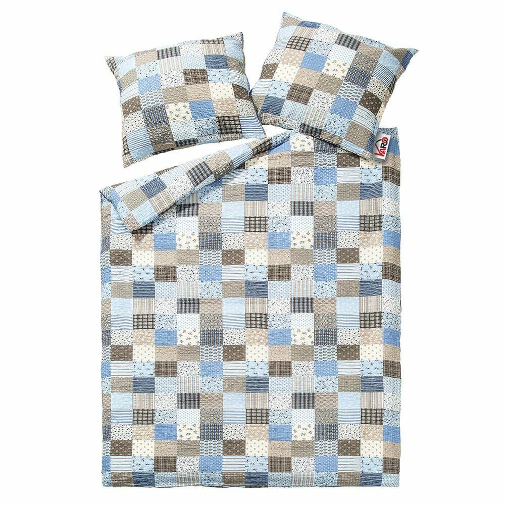 Pościel z kory 160x200 wzór 96/1 Paczłork niebieski na guziki 100% bawełna gruba