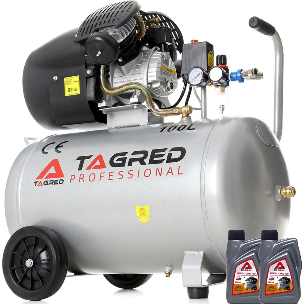 Kompresor olejowy, sprężarka TAGRED 100L 230V 2 tłoki, separator, oleje