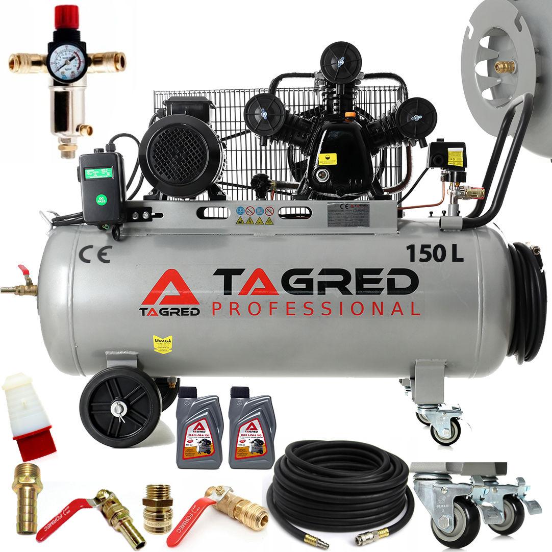 Kompresor olejowy, sprężarka TAGRED TA307B 150L 400V 3 tłoki, separator, wąż, bęben