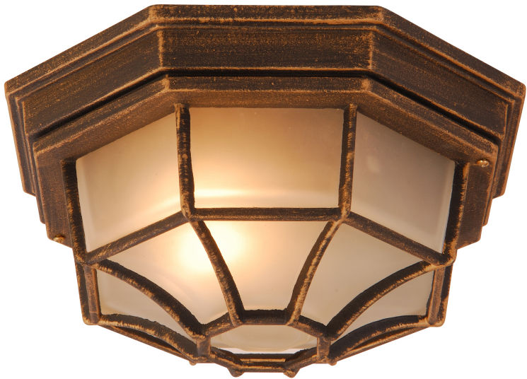 Globo plafon lampa sufitowa Perseus 31213 aluminium czarne ze złotym dekorem, szkło satynowe 28cm