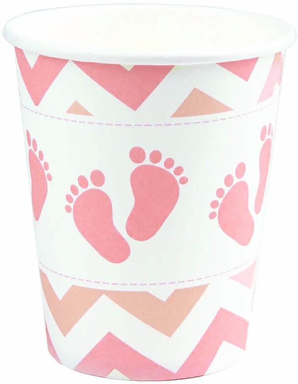 Kubeczki Stópki na Baby Shower różowe - 6 szt.