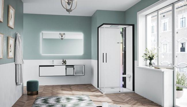 Novellini Glax 1 2.0 kabina z sauna parową 80x80 czarna G21A89T5-1HH