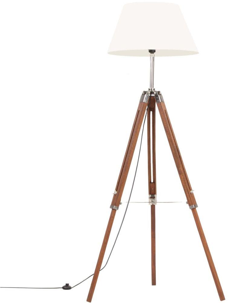 Brązowo-biała lampa stojąca z regulacją wysokości - EX199-Nostra