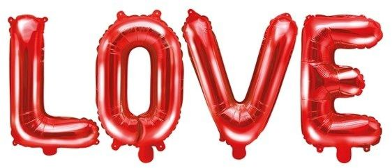 Balony foliowe napis LOVE serca czerwone SL10