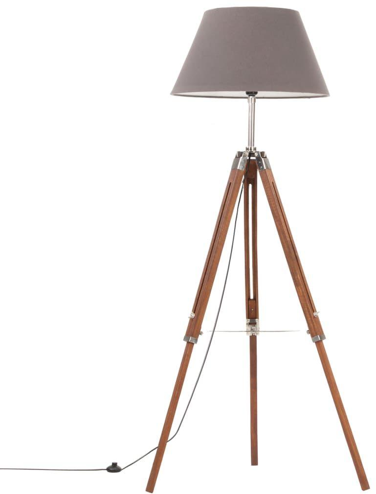 Brązowo-szara drewniana lampa podłogowa - EX199-Nostra