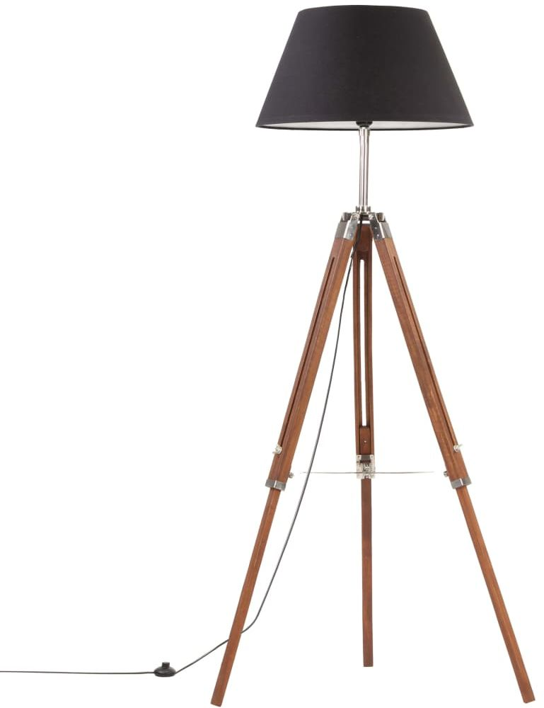 Brązowo-czarna regulowana lampa stojąca z drewna - EX199-Nostra