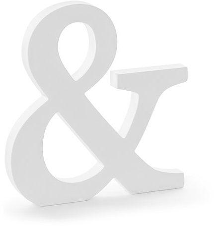 Drewniany znak & biały 20,5cm DL1-&-008