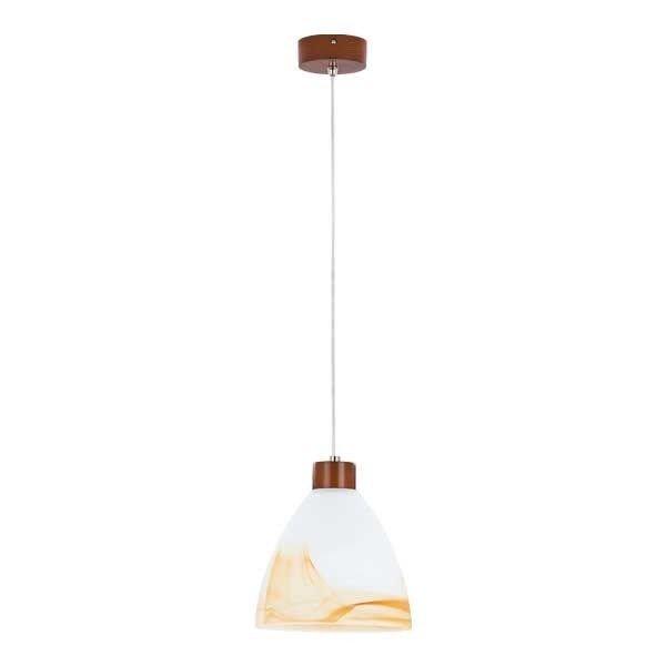 Lampa wisząca zwis drewniana EVO wenge/biały śr. 23cm