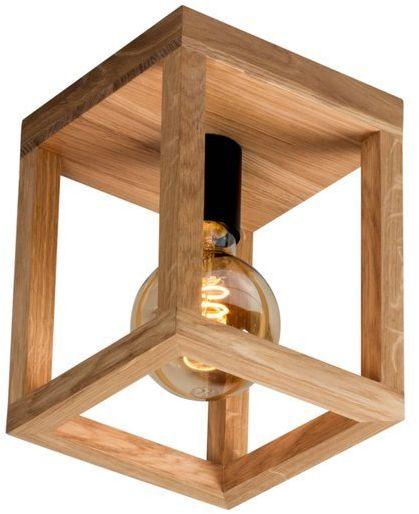 Lampa sufitowa jedno-punktowa KAGO drewno dębowe kolor dąb olejowany oprawka czarna, 9154174