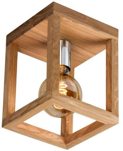 Lampa sufitowa jedno-punktowa KAGO drewno dębowe kolor dąb olejowany oprawka chrom, 9158174