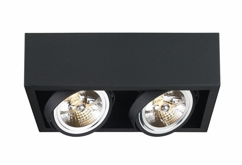 Kaspa - oprawa stropowa natynkowa podwójna - cube - czarna