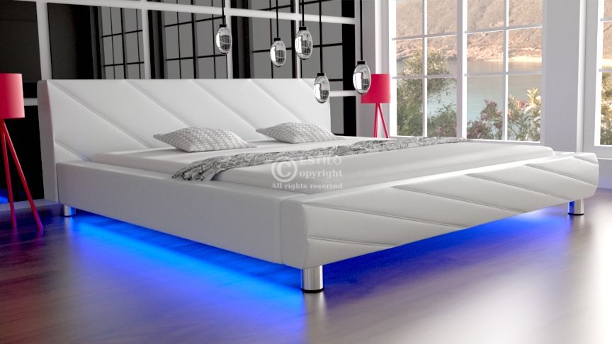 Łóżko do sypialni Apollo skóra naturalna 180x200