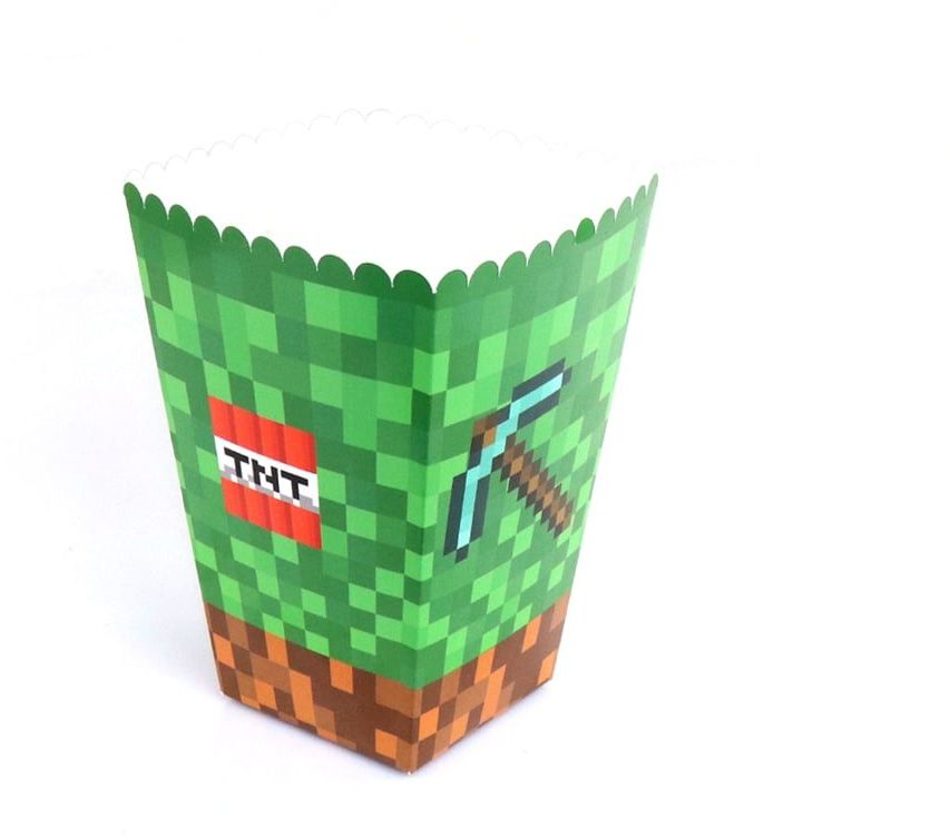 Pudełka na popcorn Piksele - 6 szt.