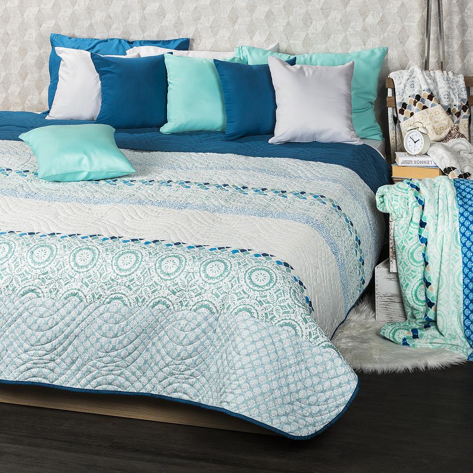 4Home Narzuta na łóżko Circles turkusowy, 220 x 240 cm