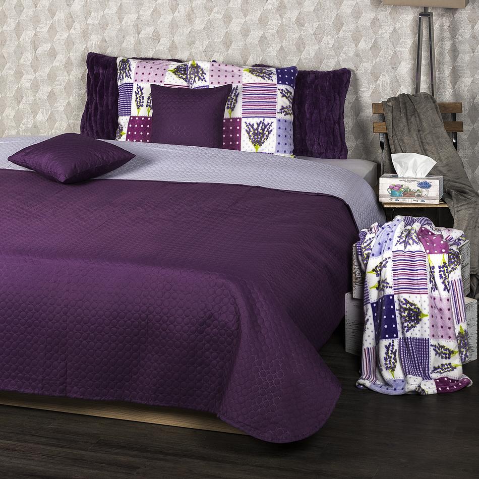 4Home Narzuta na łóżko Doubleface fioletowy/jasnofioletowy, 220 x 240 cm, 2x 40 x 40 cm