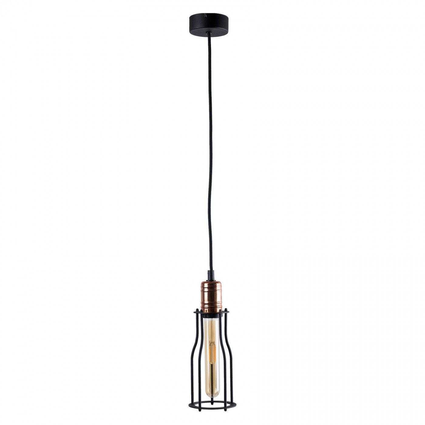 Lampa wisząca Workshop 6337 Nowodvorski Lighting czarny pojedynczy zwis z miedzianą oprawką