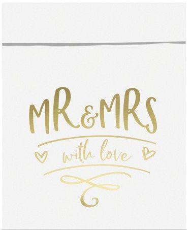 Torebki na słodycze Mr&Mrs złoty nadruk 6 sztuk TNSP8-019M