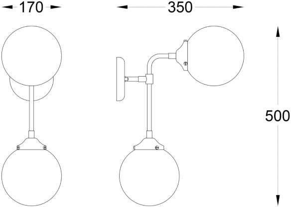 Riano kinkiet 2-punktowy chrom/transparent W0454-02D-STAC