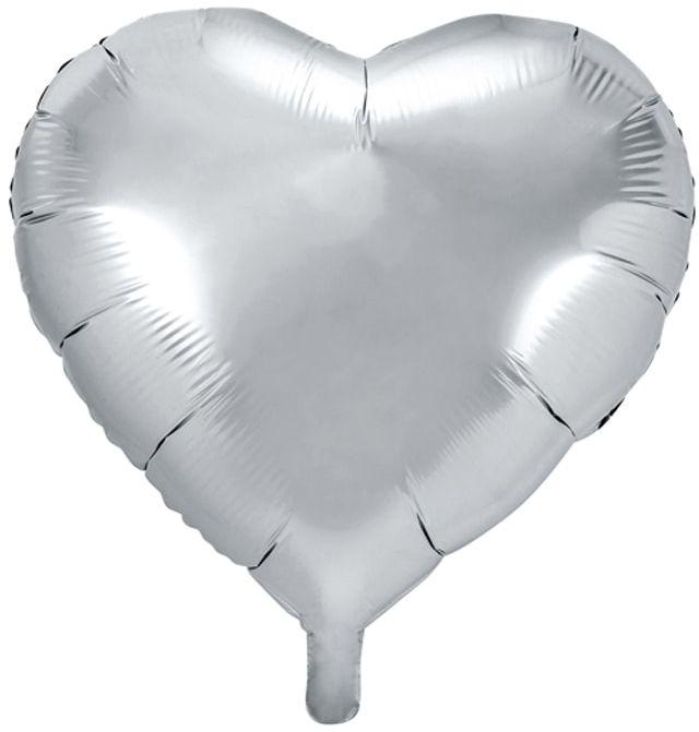 Balon foliowy Serce srebrne - 45 cm - 1 szt.