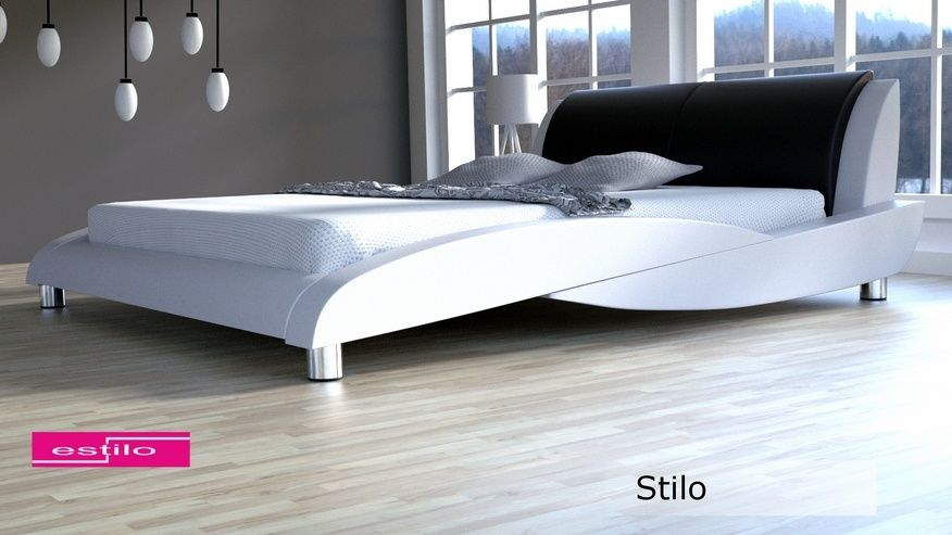 Łóżko tapicerowane Stilo skóra naturalna 160x200