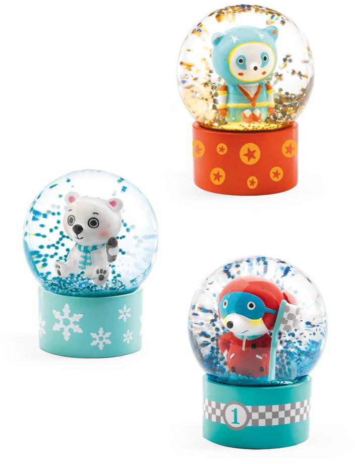 Mini kule śnieżne Misie, zestaw 3 sztuki DD03441-Djeco, dekoracje pokoju dziecka