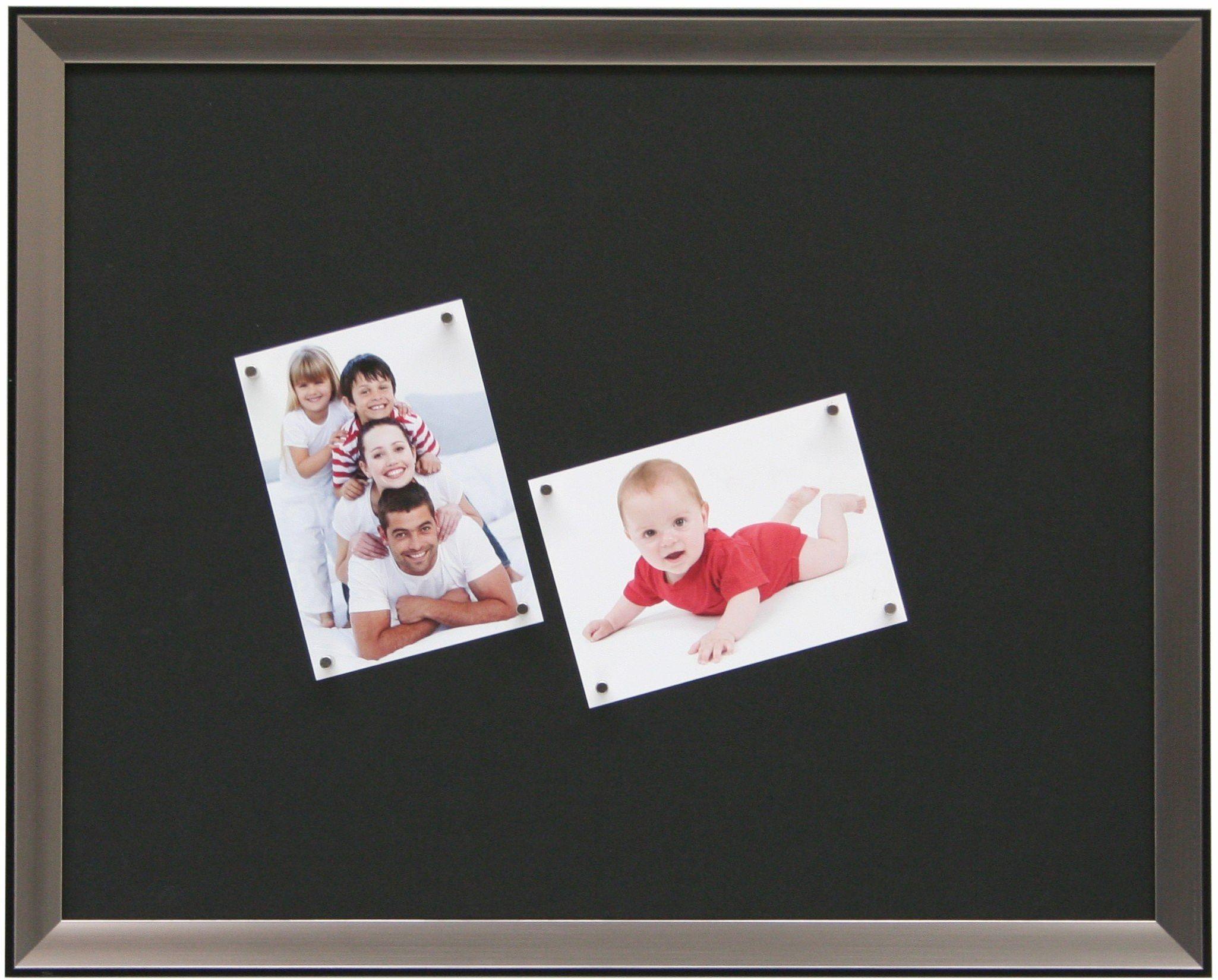 Wymiary tablicy magnetycznej (obraz): 30 cm wys. x 40 cm szer, kolor: srebrny/czarny