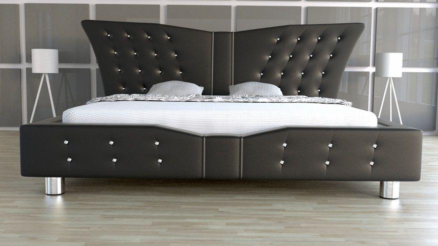 Łóżko tapicerowane Angel z kryształami - skóra naturalna 160x200