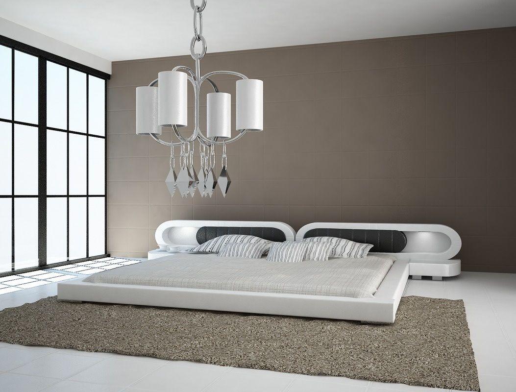 Łóżko do sypialni Harmony 2xLed skóra naturalna 180x200