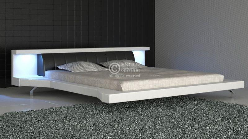 Łóżko tapicerowane Soul Led skóra naturalna 180x200