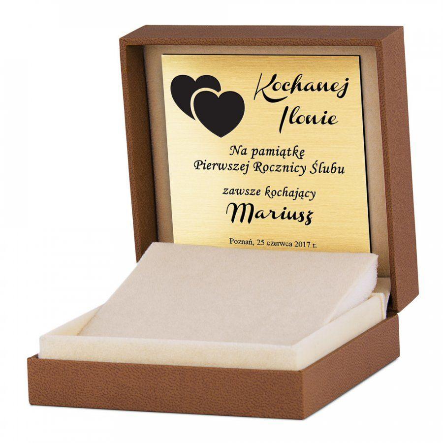 Pudełko na biżuterię brązowe z logo Murrano i grawerowaną tabliczką