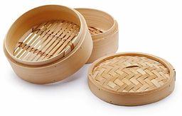H&H kosz na parę z pokrywką 2 poziomy bambusa 14,5 cm