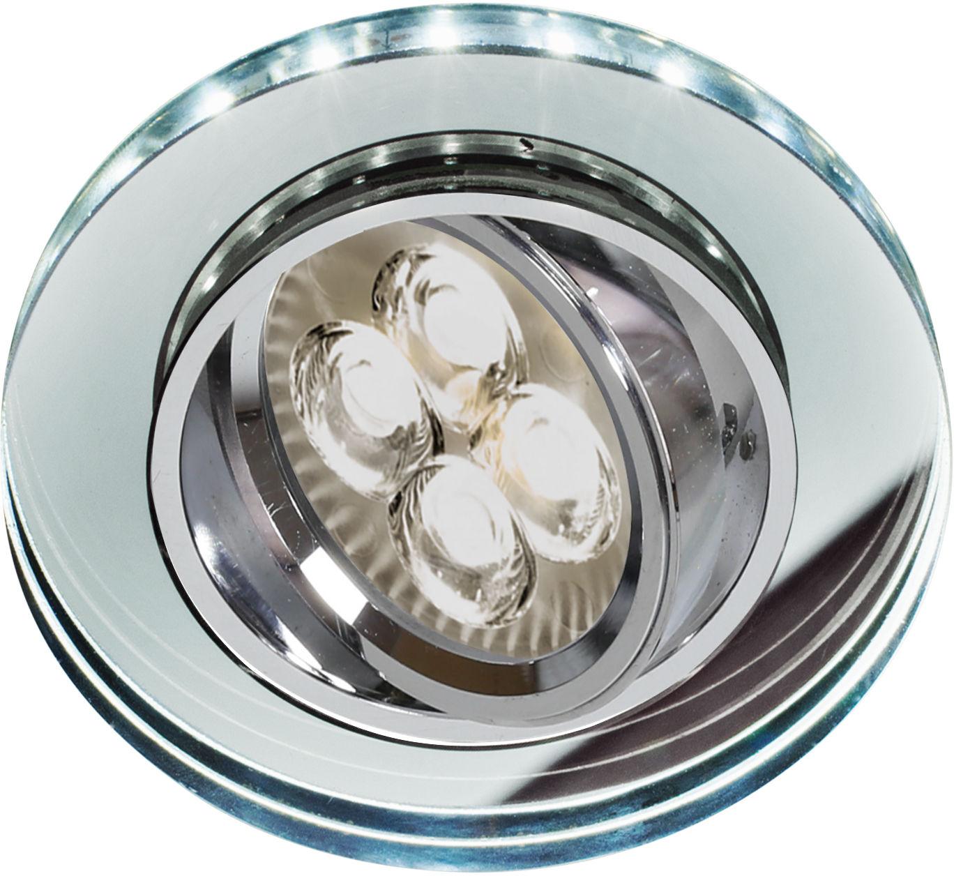 Candellux SSU-23 CH/TR+WH 2263052 oprawa do wbudowania biała GU10 50W+LED SMD 230V BIAŁY 2 1W chrom oczko sufitowe szkło transparentne min.7,4cm