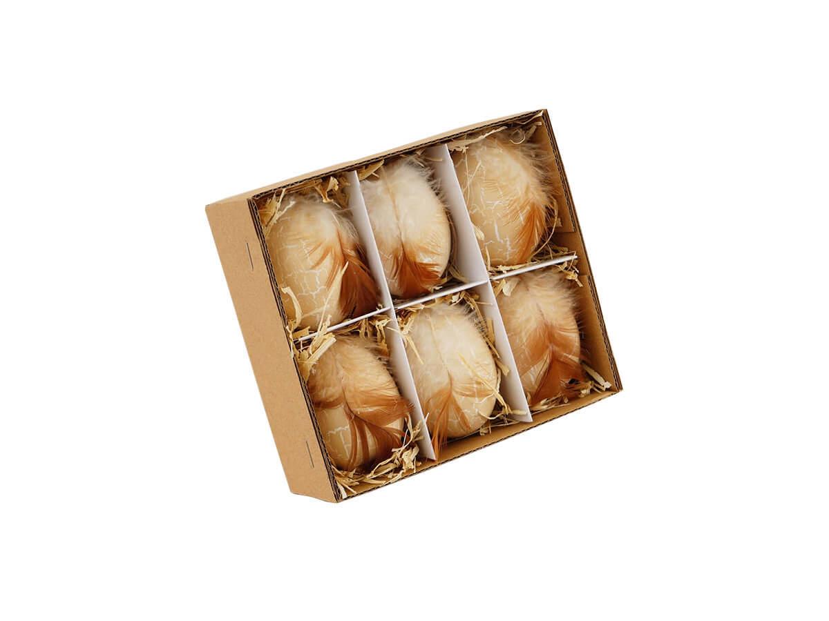 Zestaw jajek naturalnych z piórkiem - 6 cm - 6 szt.