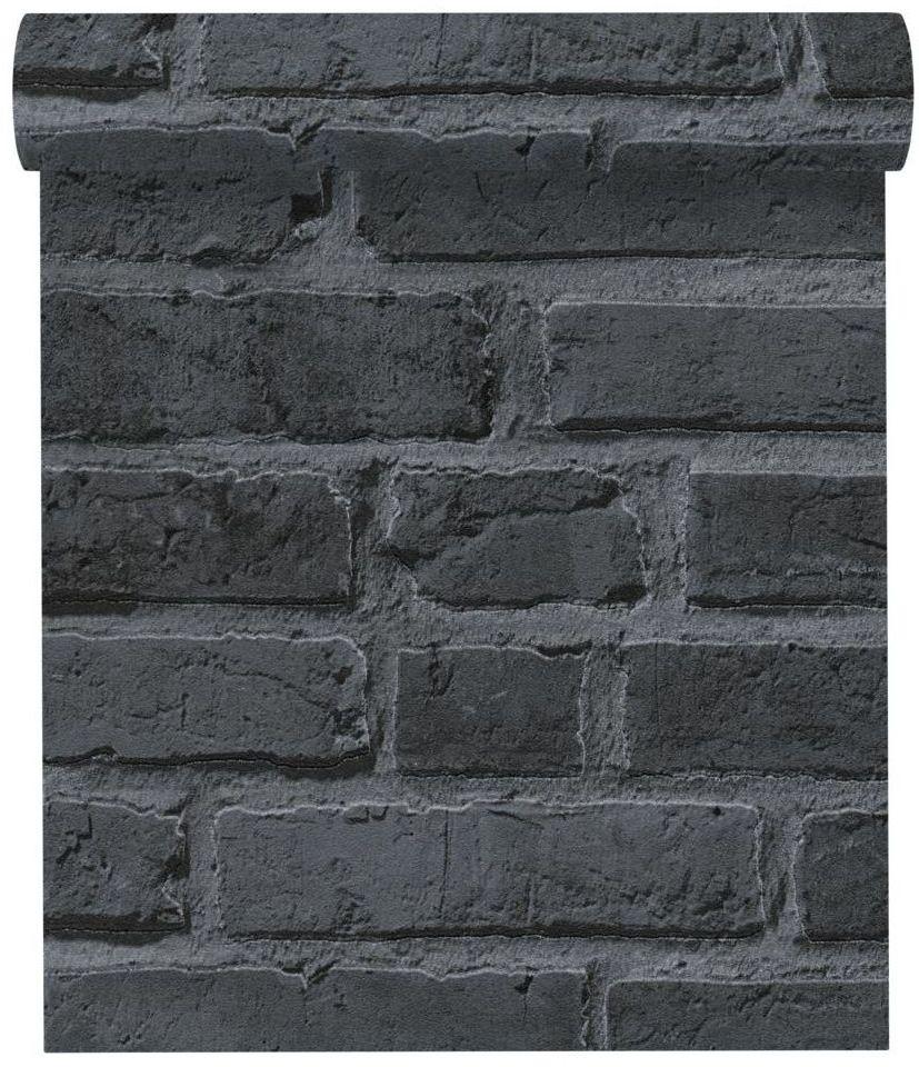 Tapeta 3D Cegła ciemnoszara imitacja cegły winylowa na flizelinie