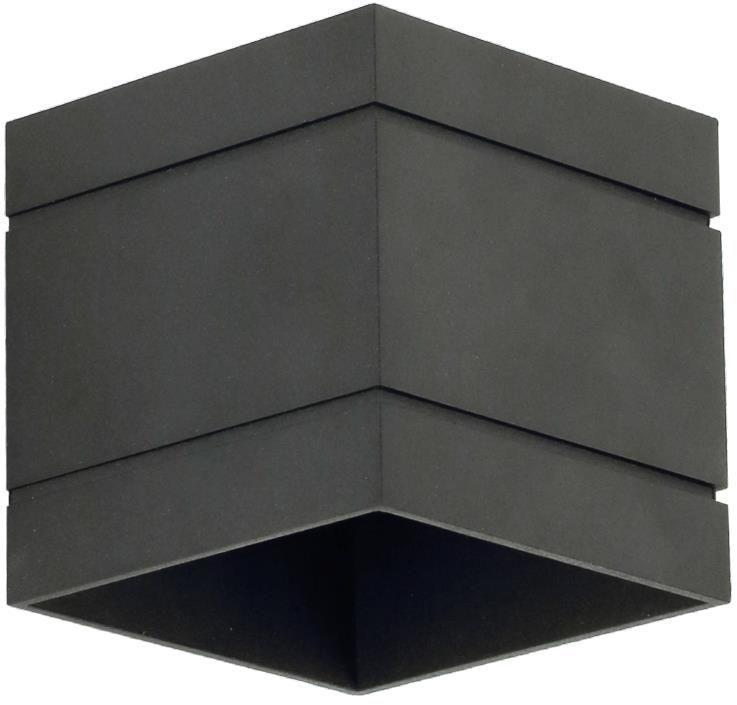 Lampex Quado DELUXE A czarny 691/KA CZA kinkiet lampa ścienna nowoczesna metal kwadrat 1x40W G9 10cm