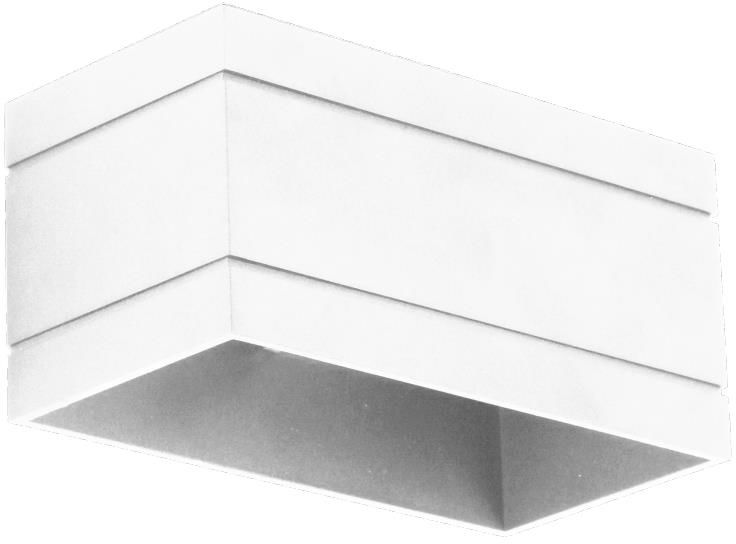 Lampex Quado DELUXE B biały 691/KB BIA kinkiet lampa ścienna nowoczesna metal biały prostokąt 1x40W G9 20cm