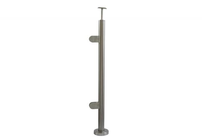 (38) Słupek podłogowy z 2 uchwytami do balustrady szklanej, h=96cm, stal nierdzewna inox AISI304,lewy